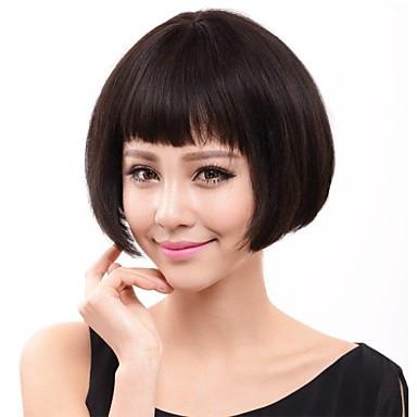 Perucas de cabelo capless do cabelo humano Cabelo Humano Liso / Clássico Fabrico à Máquina Peruca Diário / Reto