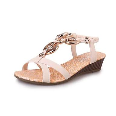 נשים נעליים דמוי עור קיץ עקב טריז כפתור ל קזו'אל שחור בז'