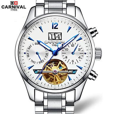 Homens Relógio Esqueleto Automático - da corda automáticamente Gravação Oca Aço Inoxidável Banda Branco