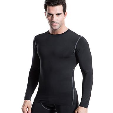 Homens Camiseta de Corrida Manga Longa Secagem Rápida Macio Compressão Materiais Leves Roupas de Compressão Blusas para Ioga Exercício e
