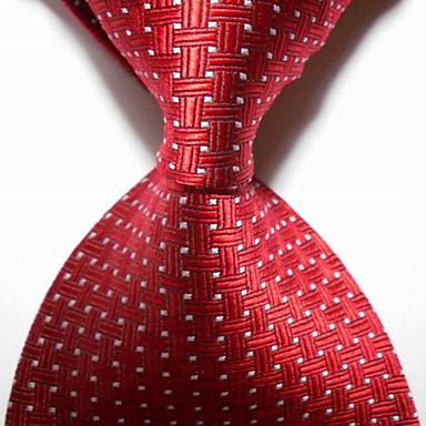 miesten puolue / ilta punainen ristissä jacquard kudottu solmuke solmio