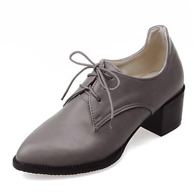 Avokkaat / Oxford-kengät-Leveä korko-Naisten kengät-Tekonahka-Musta / Punainen / Harmaa-Toimisto / Puku / Rento-Korot / Teräväkärkiset