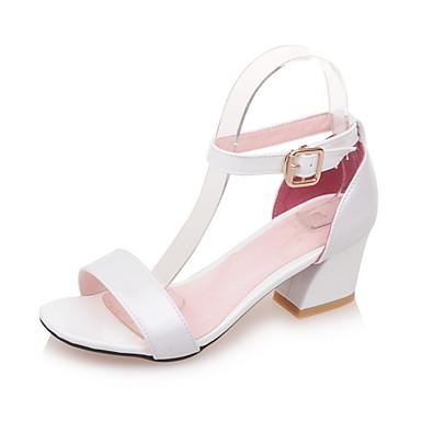 Ženske cipele-Sandale-Formalne prilike-Lakirana koža-Kockasta potpetica-Zaobljene cipele-Plava / Ružičasta / Crvena / Bijela