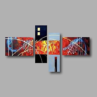 Maalattu AbstraktiModerni 4 paneeli Kanvas Hang-Painted öljymaalaus For Kodinsisustus