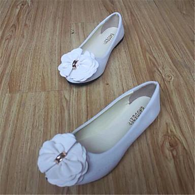 Mulheres Sapatos Flanelado Primavera / Outono Conforto Sem Salto Laço Vermelho / Rosa claro / Vinho