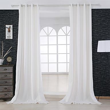 שני פנאלים מודרני מוצק בז' חדר שינה תערובת פשתן/כותנה לוח וילונות וילונות