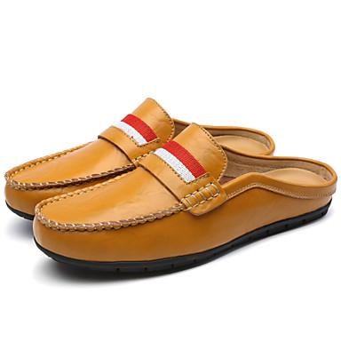 Muškarci Cipele Koža Proljeće Ljeto Udobne cipele Klompe i natikače Pletena traka za Kauzalni Vanjski Ured i karijera Obala Crn Braon