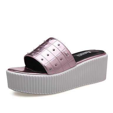 נעלי נשים-קבקבים וכפכפי עקב-דמוי עור-פלטפורמה / קריפרס-סגול / כסוף-שמלה / קז'ואל-פלטפורמה