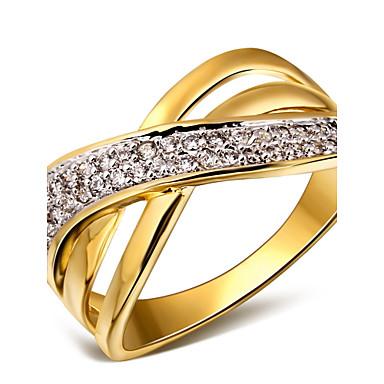 Damen Statement-Ring - Kubikzirkonia, Kupfer, Platiert Modisch 6 / 7 / 8 Weiß / Gold / Weiß Für Hochzeit / Party / Alltag / vergoldet / 18K Gold / vergoldet