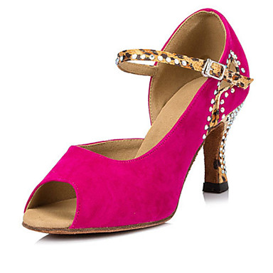 Damen Schuhe für den lateinamerikanischen Tanz / Salsa Tanzschuhe Beflockung Sandalen / Absätze Leistung Kristall / Schnalle Keilabsatz
