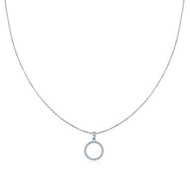 Riippuva kaulakoru-Sterling-hopea / Väritön zirkonia-Juhla