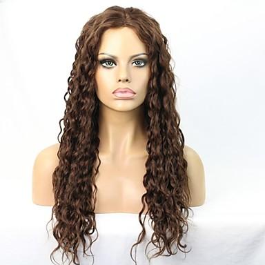 Naisten Aitohiusperuukit verkolla Aidot hiukset Full Lace Lace Front Liimaton puoliverkko 130% 150% Tiheys Kihara Peruukki Jet Black