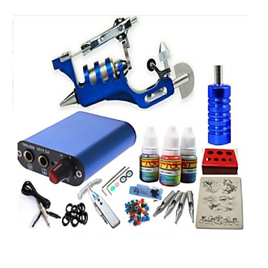 BaseKey Tattoo Machine Startkit - 1 pcs tattoo maskiner med 1 x 20 ml tatovering blekk, Profesjonell Mini strømforsyning No case 1 x stål tatoveringsmaskin til lining og skyggelegging