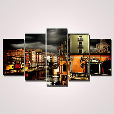 Pingoitetut kanvasprintit Maisema Moderni,5 paneeli Kanvas Horizontal Painettu Wall Decor For Kodinsisustus