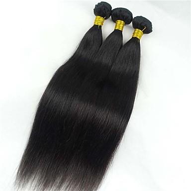 Włosy naturalne Włosy peruwiańskie Człowieka splotów włosów Proste Przedłużanie włosów 1 sztuka Czarny