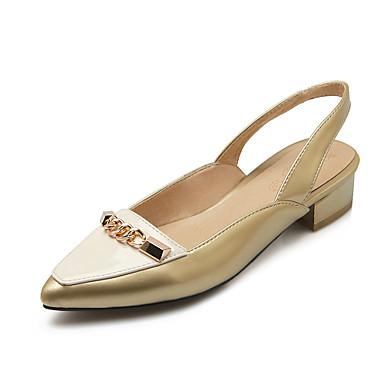 펌프스/힐 / 로퍼-캐쥬얼-여성의 신발-힐 / 뾰족한 앞코-에나멜 가죽-청키 굽-옐로 / 실버 / 골드