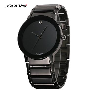 SINOBI Homens Relógio de Pulso Quartzo Impermeável Aço Inoxidável Banda Minimalista Preta