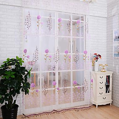 Schlaufen für Gardinenstange Ein Panel Window Treatment Landhaus Stil, Druck Wohnzimmer Polyester Stoff Gardinen Shades Haus Dekoration