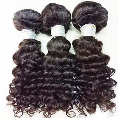 זול תוספות משיער אנושי-3 חבילות שיער ברזיאלי גל עמוק 10A שיער בתולי טווה שיער אדם 8-24 אִינְטשׁ שוזרת שיער אנושי ללא ריח משיי extention תוספות שיער אדם
