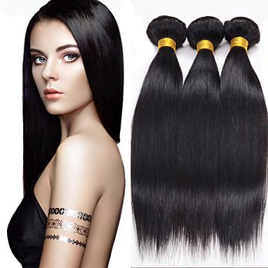 זול תוספות משיער אנושי-3 חבילות שיער ברזיאלי ישר 8A שיער אנושי טווה שיער אדם שוזרת שיער אנושי תוספות שיער אדם