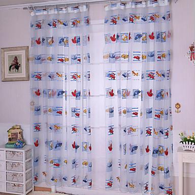 Rypytysnauha One Panel Window Hoito Kantri, Painettu Living Room Polyesteri materiaali Läpinäkyvät verhot Shades Kodinsisustus