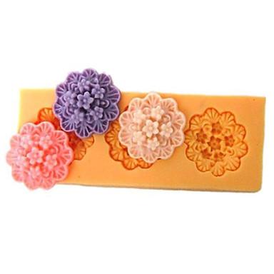 Üç Delik Dikdörtgen Çiçek Silikon Kalıp Fondan Kalıplar Şeker Craft Araçları Reçine çiçekler Cakes için Kalıp Kalıplar