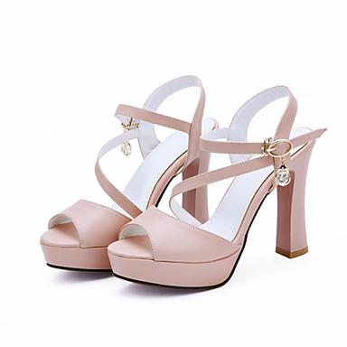 בגדי ריקוד נשים נעליים דמוי עור קיץ רצועה אחורית עקב עבה ריינסטון ל שמלה מסיבה וערב לבן שחור ורוד