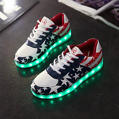 Homens / Mulheres Sapatos Courino Primavera / Verão / Outono Tênis com LED Sem Salto Cadarço Azul