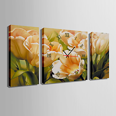 Neliö Moderni/nykyaikainen Seinäkello,Muuta Kanvas 30 x 60cm(20inchx20inch)x2pcs+ 60 x 60cm(24inchx24inch)x1pcs