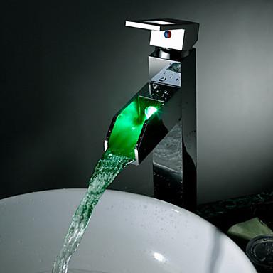 욕실 싱크 수도꼭지 - 워터팔 LED 크롬 데크 마운티드 싱글 핸들 하나의 구멍