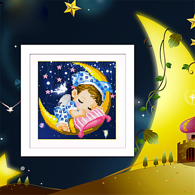 בני ובנות מלאך DIY ירח 5D יהלום רקמת קסם קוביית פסיפס יהלום עגול יהלומי ציור צלב תפר ערכות