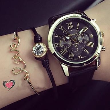Damen Armband-Uhr Quartz Armbanduhren für den Alltag PU Band Analog Charme Modisch Schwarz / Weiß / Grün - Schwarz Grün Rosa Ein Jahr Batterielebensdauer / KC 377A