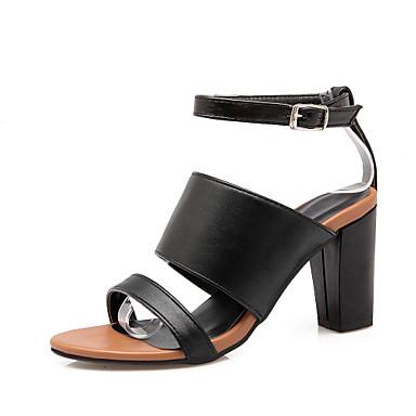 Femme Chaussures Similicuir Printemps Eté Gladiateur Talon Bottier Boucle Pour Décontracté Habillé Blanc Noir