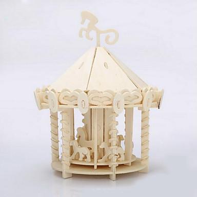 Puslespill 3D-puslespill / Puslespill i tre Byggeklosser DIY leker Merry-Go-Round Tre Gylden Modell- og byggeleke
