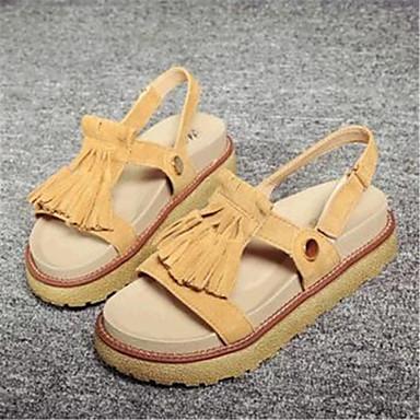 샌달-야외 / 캐쥬얼-여성의 신발-크리퍼-플리스-플랫폼-옐로 / 베이지