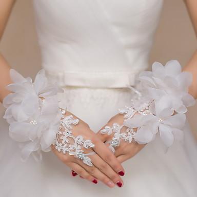 Spitze Handgelenk-Länge Handschuh Brauthandschuhe Party / Abendhandschuhe With Strass Stickerei Blumig