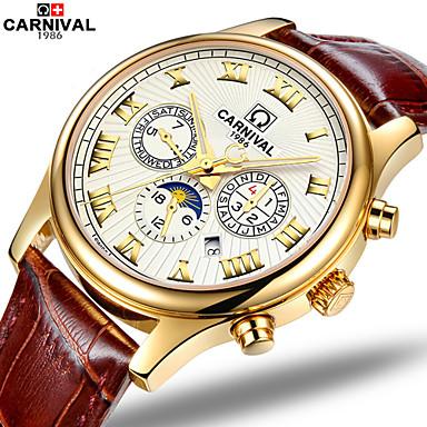 Carnival Masculino Relógio de Moda Automático - da corda automáticamente Gravação Oca Couro Banda Marrom
