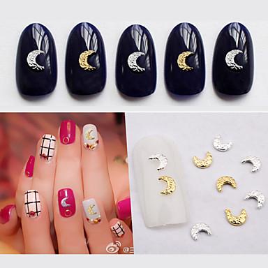 Outras Decorações-Adorável- paraDedo- deOutro- com50pcs Gold Silver Moon Nail Decorations-4mm*5mm- (cm)