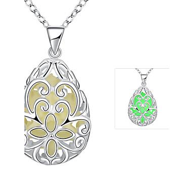 נשים שרשראות תליון סגסוגת מצופה כסף סגנון מינימליסטי סגול ירוק כחול תכשיטים חתונה Party יומי 1pc