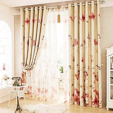 Propp Topp Blyant Plissert To paneler Window Treatment Moderne Stue Polyester Materiale Blackout Gardiner Hjem Dekor For Vindu