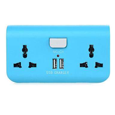 Dual-Port-USB-EU-Stecker-Adapter-Ladegerät mit 2 x Steckdosen für Handy / Tablet-PC