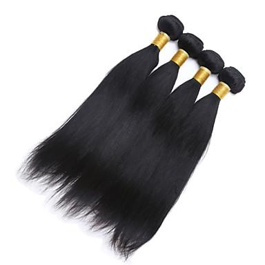 baratos Extensões de Cabelo Natural-Cabelo Brasileiro Liso Cabelo Humano Cabelo Humano Ondulado Tramas de cabelo humano Extensões de cabelo humano / Reto