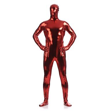 Skinnende Zentai Drakter Ninja Zentai Cosplay-kostymer Rød Ensfarget Trikot / Heldraktskostymer Zentai Spandex Skinnende Metallisk Herre Dame Halloween / Høy Elastisitet
