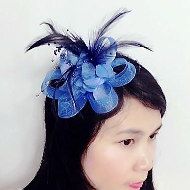 Tule / Pena / Rede Fascinadores / Decoração de Cabelo com Floral 1pç Casamento / Ocasião Especial Capacete