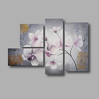 Maalattu Kukkakuvio/Kasvitiede Mikä tahansa muoto, Moderni Kangas Hang-Painted öljymaalaus Kodinsisustus 4 paneeli