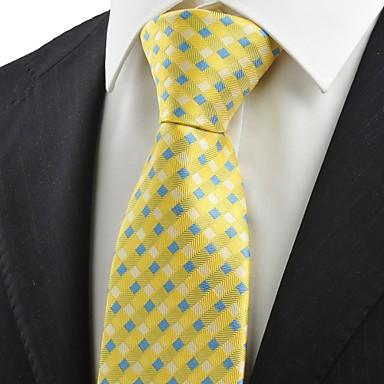 Krawatte(Blau / Gelb,Polyester)Gitter