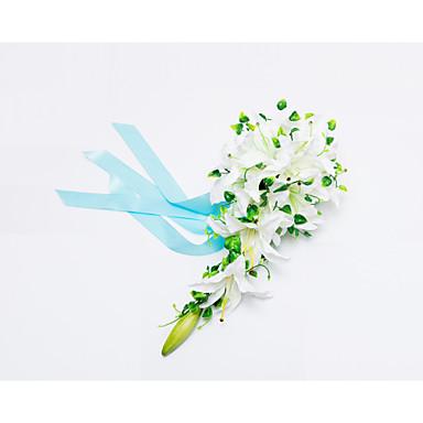 Bouquets de Noiva Cascata Lírios Buquês Casamento Festa / noite Cetim 19.7