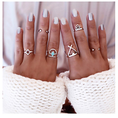 טבעות יומי / קזו'אל תכשיטים סגסוגת טבעות הצהרה 1set,מידה אחת One Size מוזהב