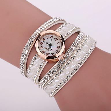 Xu™ 여성용 모조 다이아몬드 시계 팔찌 시계 패션 시계 석영 모조 다이아몬드 가죽 밴드 참 블랙 화이트 블루 레드 브라운 핑크 퍼플