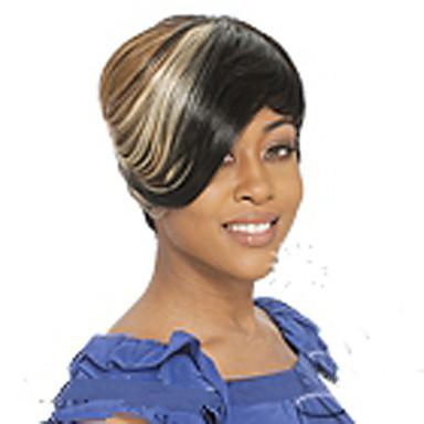 Sentetik Peruklar Düz Yoğunluk Bonesiz Kadın's Çoklu-renk Karnaval Peruk Cadılar Bayramı Peruk siyah Peruk Cosplay Peruk Şort Sentetik Saç